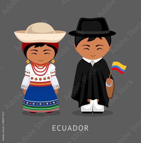 Fotografie, Obraz  Ecuadorians in national dress with a flag