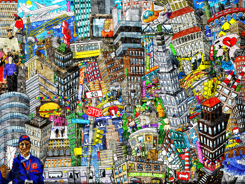 Graffiti, City, an illustration of a large collage, with houses, cars and people © Zarya Maxim