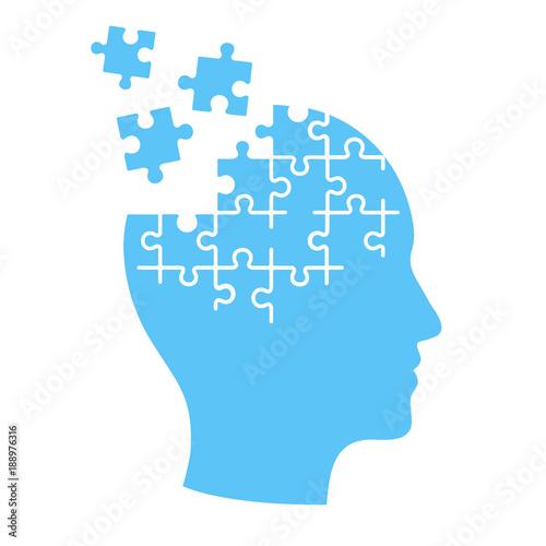 Mind jigsaw puzzle illustration. Wall mural