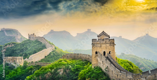 Spoed Foto op Canvas Oranje The Great Wall of China