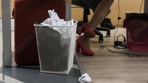 Fotografie, Obraz  Trash bin - basket full of wastepaper in office