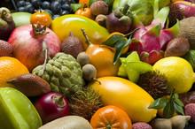 Fresh Thai Tropical Fruits Heap, Healthy Food, Diet Nutrition, Selective Focus