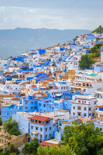 Deurstickers Marokko Aerial view of blue medina of city Chefchaouen, Morocco, Africa.
