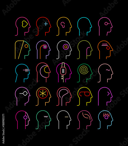 In de dag Abstractie Art Human Head neon silhouettes