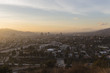 Dusk view of downtown Glendale and the San Fernando Valley in Los Angeles California.