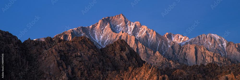 Fototapety, obrazy: Panorama of Glowing Lone Pine Peak Sunrise, Alabama Hills, Lone Pine, California