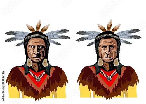 Fotografía Vector portraits of two native american chiefs, men in natioanl traditional clot