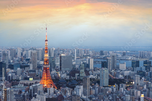 Photo  Japan view with tokyo tower during sunset
