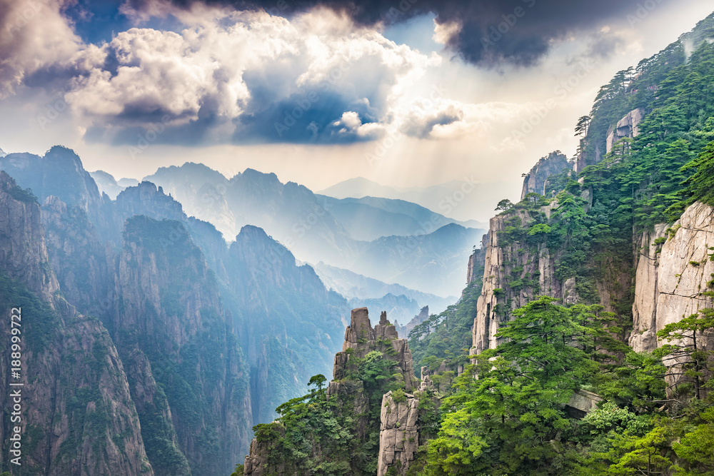 Fototapety, obrazy: Landscape of Huangshan Mountain (Yellow Mountains). Located in Anhui province in eastern China.