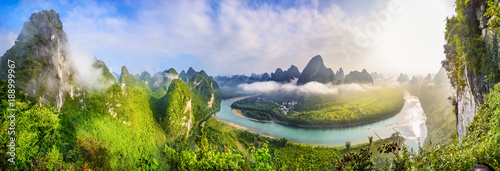 Fotobehang Guilin Landscape of Guilin, Li River and Karst mountains. Located near The Ancient Town of Xingping, Yangshuo, Guilin, Guangxi, China.