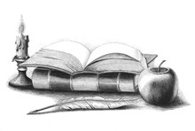 Books Stack With Apple,quill P...