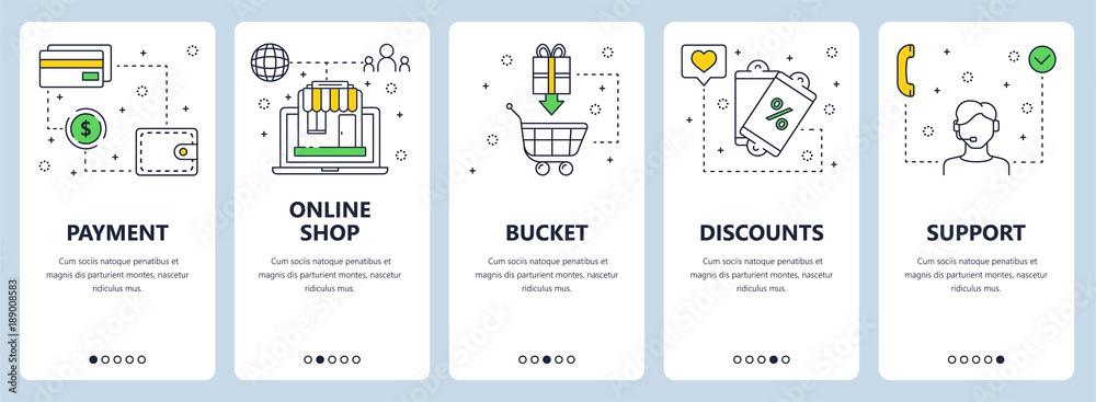 Fototapeta Vector modern thin line online payment concept web banners