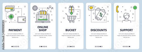 Fotografía  Vector modern thin line online payment concept web banners