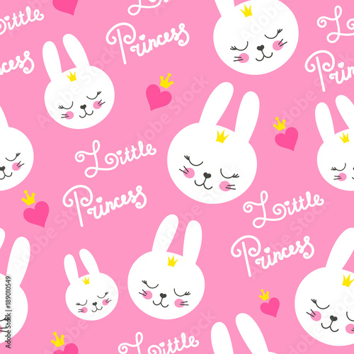 Cute Baby Pattern With Little Bunny Cartoon Animal Girl Print Vector Seamless Sweet Pink Background For Princess Birthday Kids Clothing Or Dress Nursery Wallpaper Bedroom Textile Buy This Stock Vector And