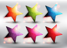 Abstract Vector Web Buttons Set Of 6. Low Poly Stars In 6 Different Colors. Star Icons. Isolated With Realistic Transparent Glass Shine And Shadow On The Light Background. Vector Illustration. Eps10.