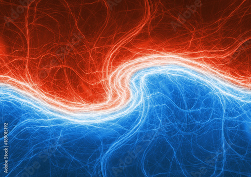 Fire and ice lightning, electrical plasma swirl Canvas Print