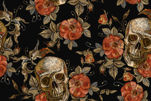 Embroidery Vintage Skull And R...