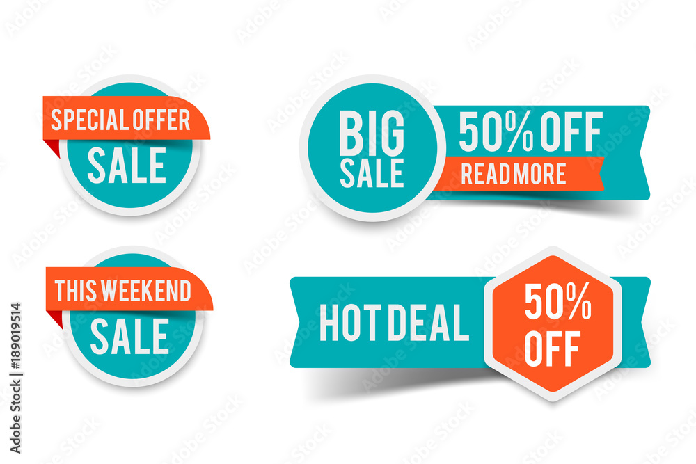 Fototapety, obrazy: Sale round banner set, circle special offer tag collection. Hot deal 50% off badge template, this weekend only sale icon