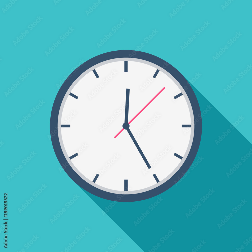 Fototapety, obrazy: White Clock icon flat design for apps and website, trendy office clock with shadow on a blue background. Vector illustration, eps10