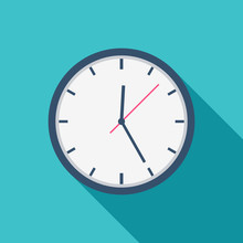 White Clock Icon Flat Design F...