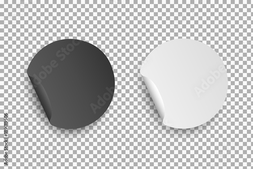Round paper white and black stickers with bent edge with shadow isolated on transparent background Tapéta, Fotótapéta