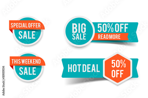 Fotomural  Sale round banner set, circle special offer tag collection