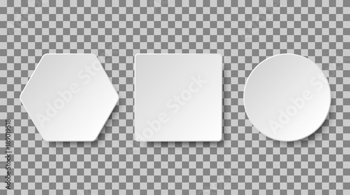 Fotografía  Set of white blank buttons on a transparent background for apps and website