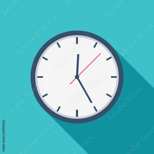 Photo White Clock icon flat design for apps and website, trendy office clock with shadow on a blue background