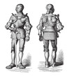 Knight armor (Cuirass) / illustration from Meyers Konversations-Lexikon 1897
