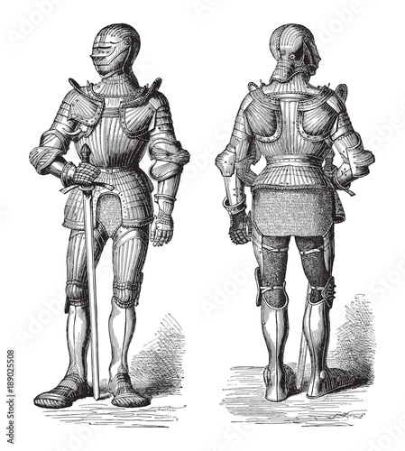 Knight armor (Cuirass) / illustration from Meyers Konversations-Lexikon 1897 Canvas Print