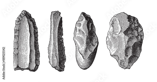 Fotografie, Obraz  Stone age tools collection / vintage illustration from Meyers Konversations-Lexi