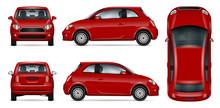 Red Mini Car Vector Illustration.