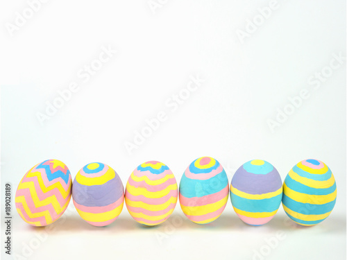 Photo  Painted easter eggs isolated on white background with clipping path, concept for