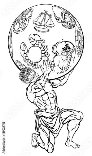 Cuadros en Lienzo Atlas Greek Mythology Illustration