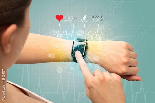 Obraz Cycle and smartwatch concept. - fototapety do salonu