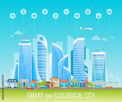 Spoed Foto op Canvas Turkoois Smart and ecological friendly city. Cityscape, urban landscape.