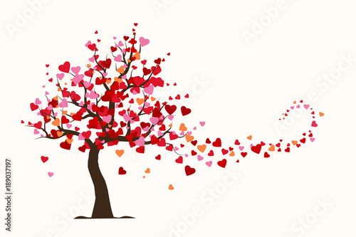 Leinwand Poster Valentine's day card, love tree with heart leaves flat Illustration vector