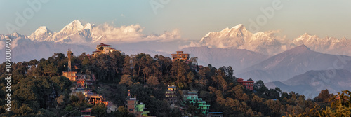 Montage in der Fensternische Nepal Nagarkot, Nepal, View on the Himalayan Mountain Range