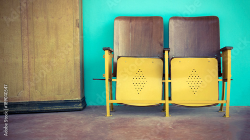Enjoyable Close Up Of Old Wooden Folding Cinema Chair Or Folding Seat Caraccident5 Cool Chair Designs And Ideas Caraccident5Info