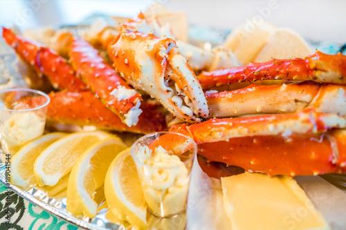 Red king crab legs with fresh lemon slices Wallpaper Mural