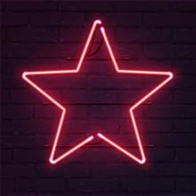 Star Pink Neon Sign. Vector Re...