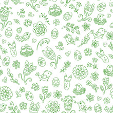 Easter Seamless Pattern With Hand Drawn Green Line Doodles In White Background. Vector Illustration.
