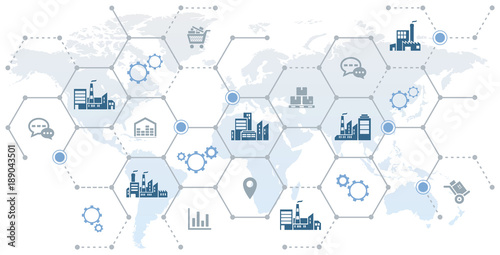 Fotografie, Obraz  global company network - growth, trade & logistics - vector illustration