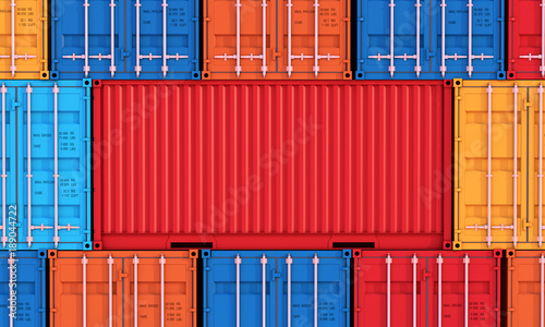 Obraz Stack of containers box, Cargo freight ship for import export business - fototapety do salonu