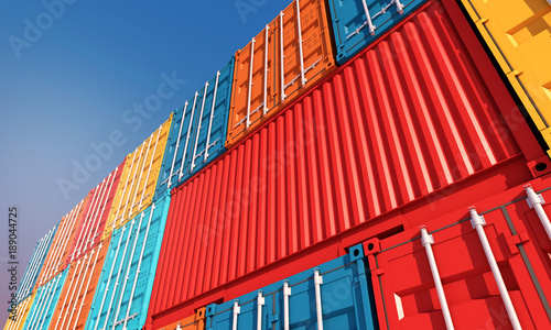 Valokuva  Stack of containers box, Cargo freight ship for import export business
