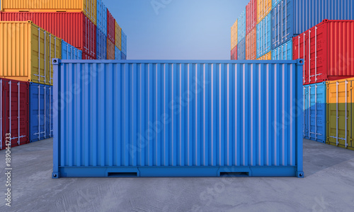 Fotografia  Stack of containers box, Cargo freight ship for import export business