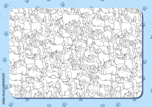 Coloring Book With Cute Cartoon Dogs Different Breeds