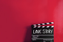Love Story Text Title On Film Slate