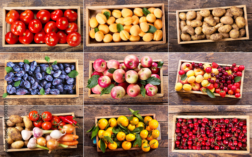 collage of various fruits and vegetables in wooden boxes © Nitr