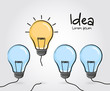 Concept of idea and innovation. Doodle hand drawn sign. Vector.